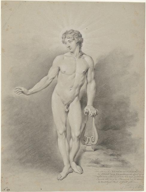 Staand mannelijk naakt met lier, als Apollo
