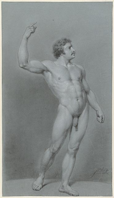 Staand mannelijk naakt met snor