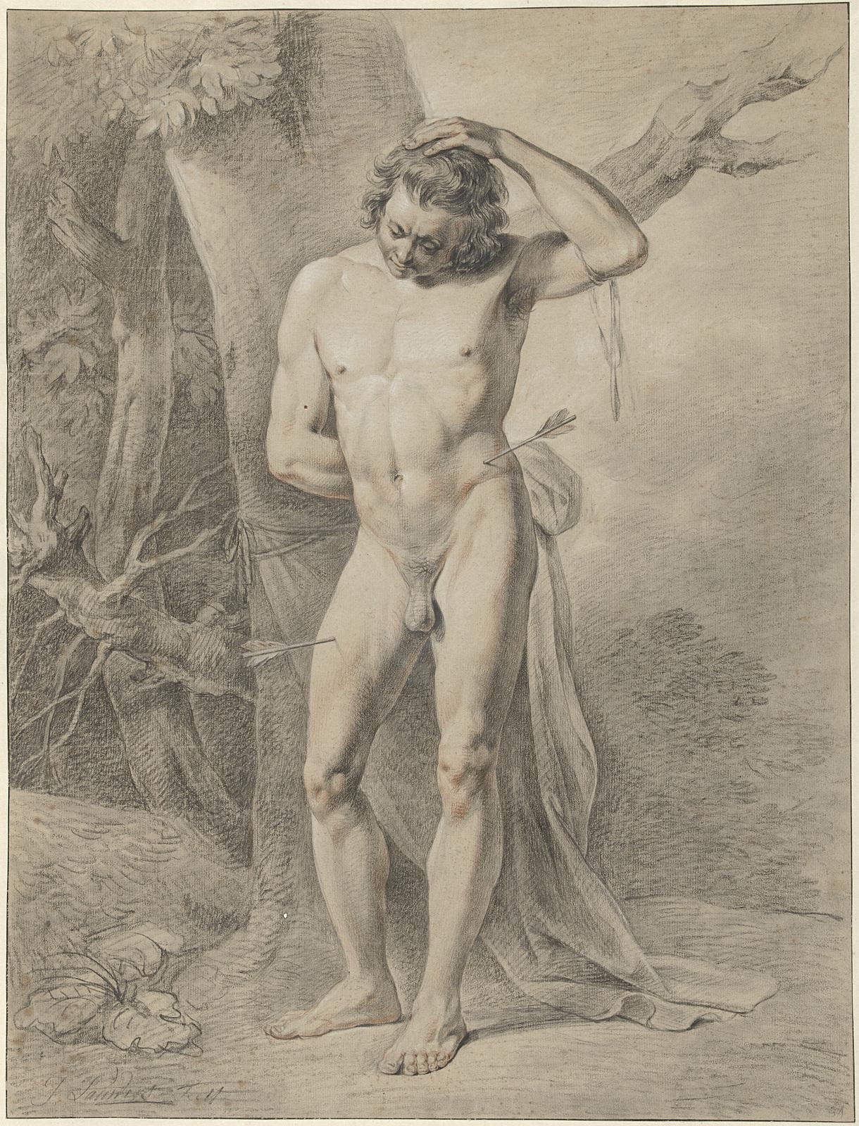 Staand mannelijk naakt, voor een boom
