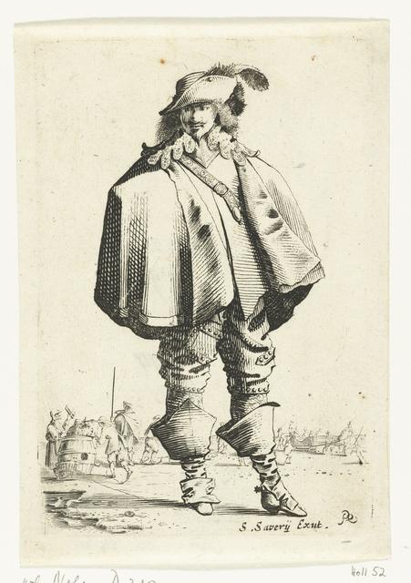 Staande cavalier met cape, op de achtergrond figuren op het ijs