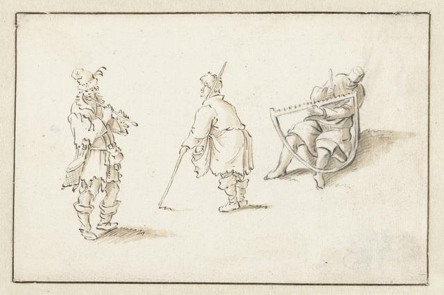 Staande fluitspeler, man met een stok en man met een zaag