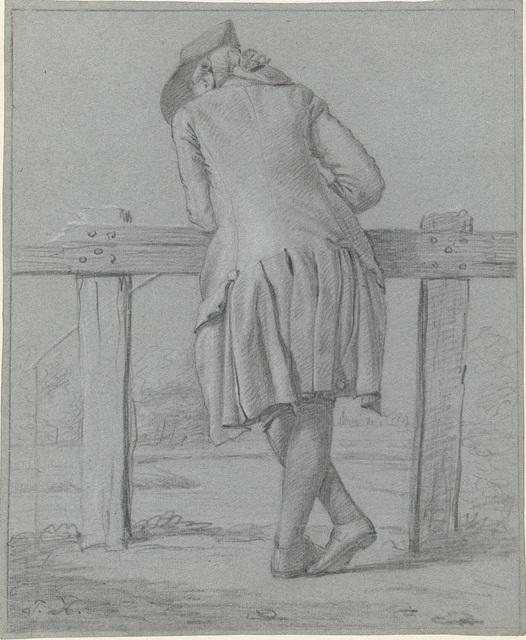 Staande heer, op de rug gezien, leunend over een hek
