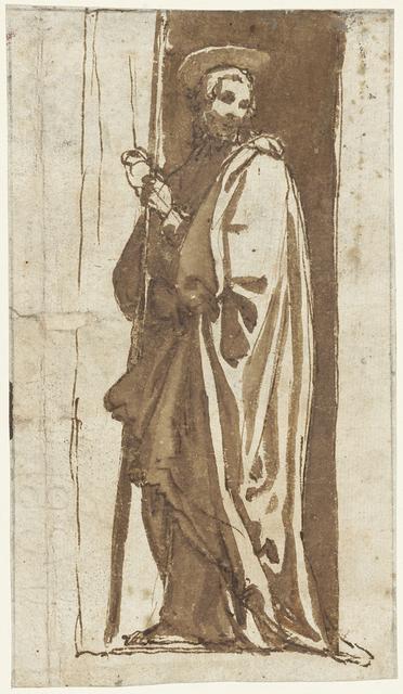 Staande heilige in een nis (Johannes de Doper?)