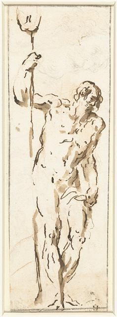 Staande Hercules, leunend op zijn knots