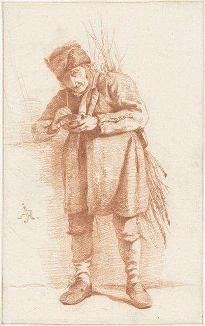 Staande man met een pijp en een takkenbos