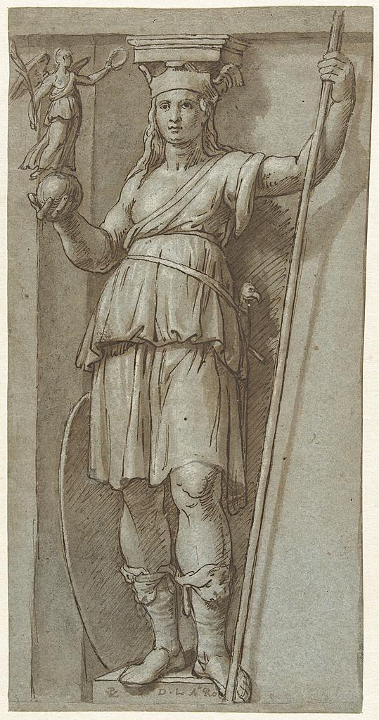Staande vrouw met een staf en een figuur op een bol in haar handen