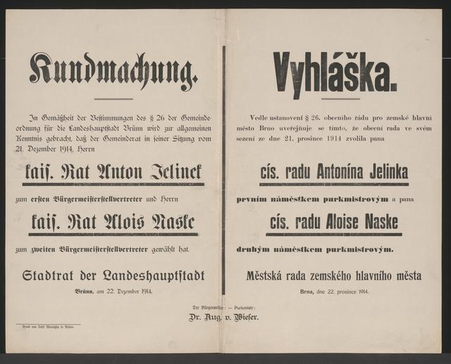 Stellvertreter des Bürgermeisters - Kundmachung - Brünn - Mehrsprachiges Plakat