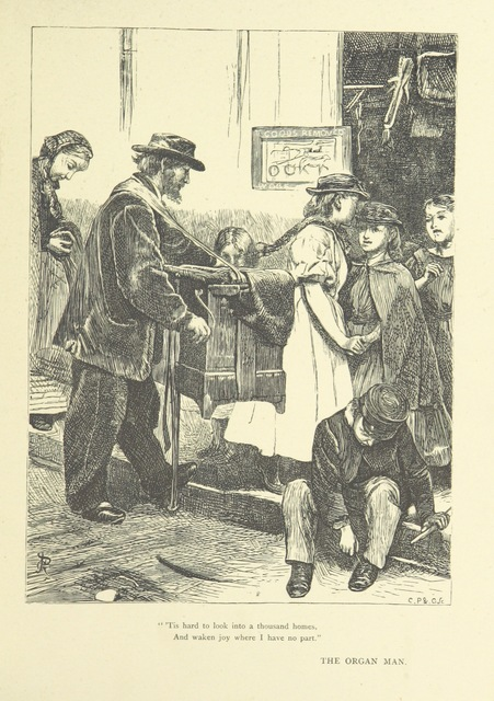 "street organ from ""Idyllic Pictures. Drawn by Barnes, Miss E. Edwards, P. Gray, Houghton, R. P. Leitch, Pinwell, Sandys, Small, G. Thomas, etc"""