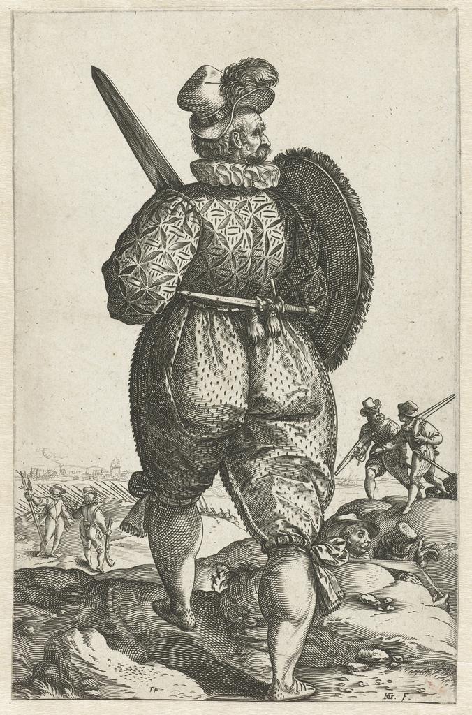 Strijder met zwaard, op de rug gezien