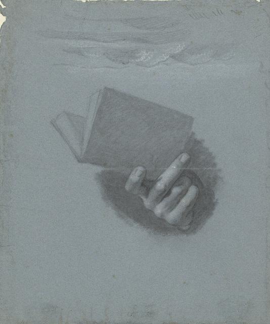 Studie van een hand die een boek vasthoudt