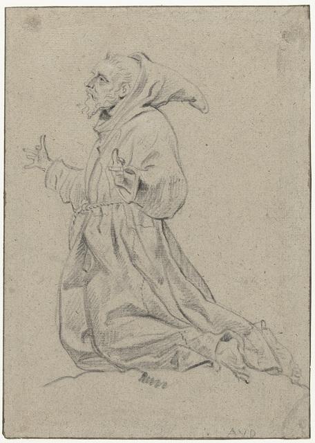 Studie van een knielende monnik, naar links