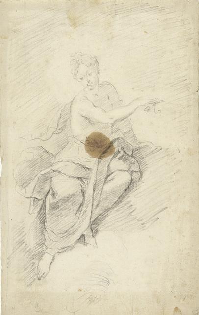 Studie van een nimf of godin zittend in de wolken