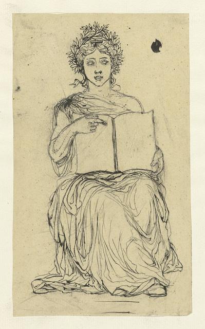 Studie voor een allegorie op de Republiek: vrouw met boek op haar schoot