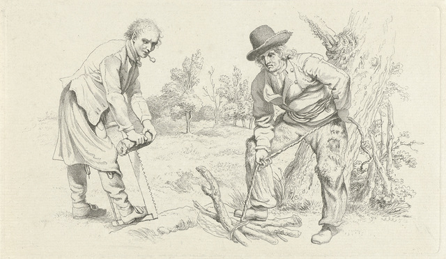 Studieblad met een houtsprokkelaar en een man met zaag