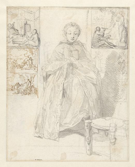 Studieblad met een lezende vrouw en enkele schetsen