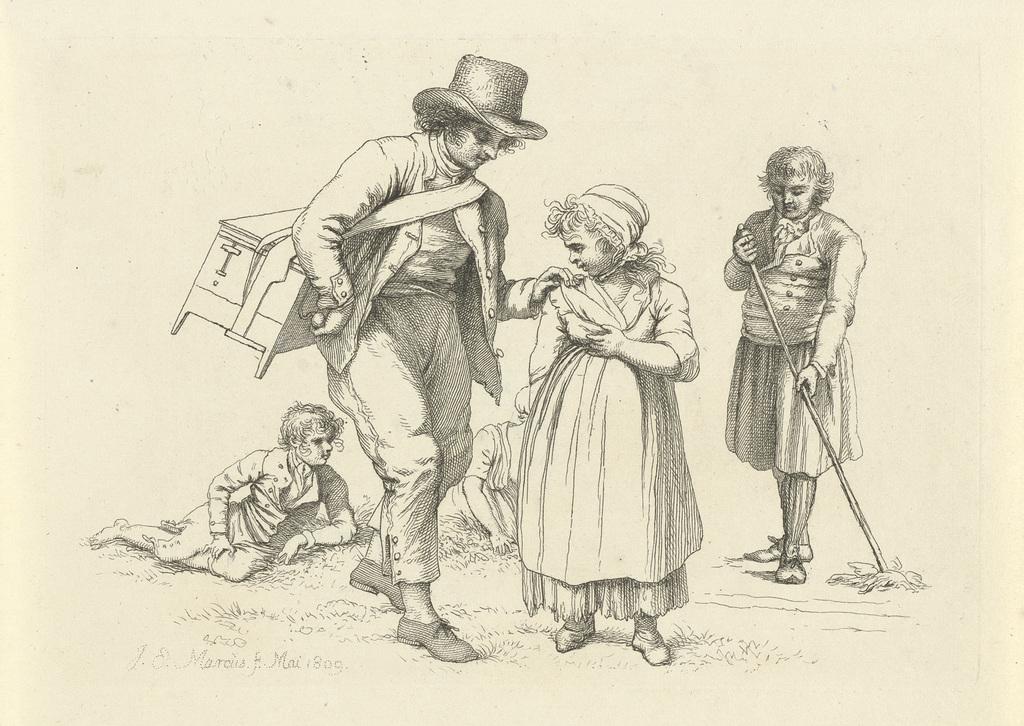 Studieblad met een man met een draaiorgel en een meisje