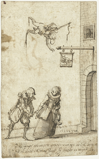 Studieblad met een vrijer die door zijn beminde gevangen is genomen