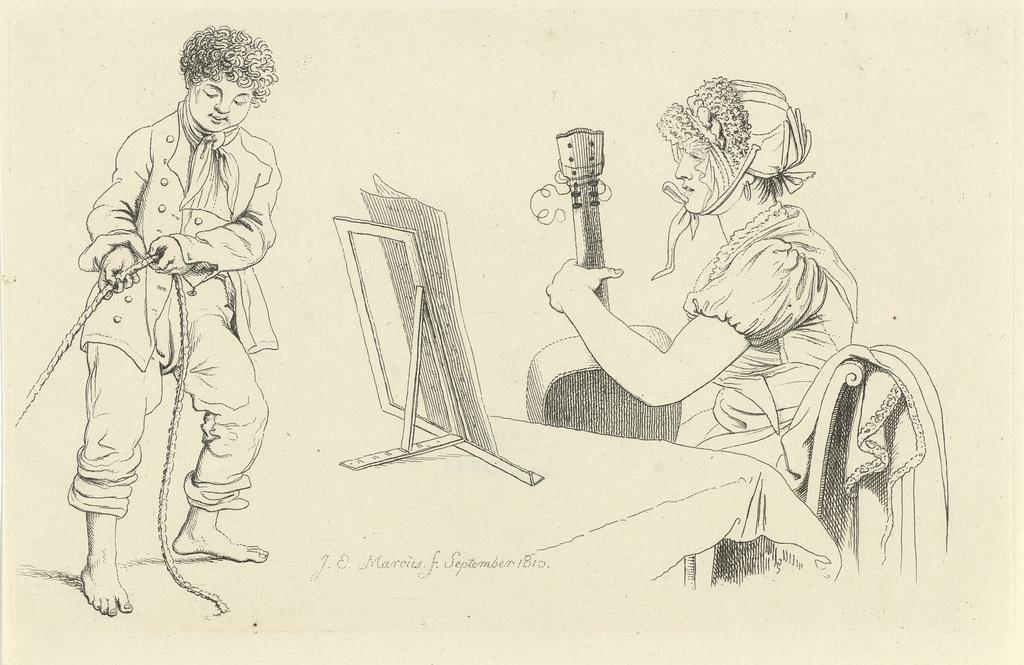 Studieblad met een vrouw met gitaar en een touwtrekkende jongen