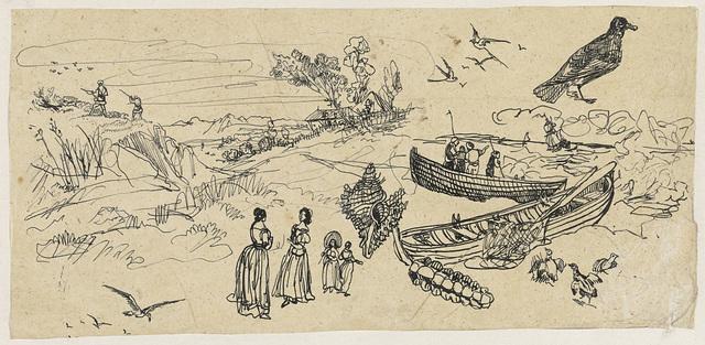 Studieblad met jagers, vissersschepen, vogels en schelpen