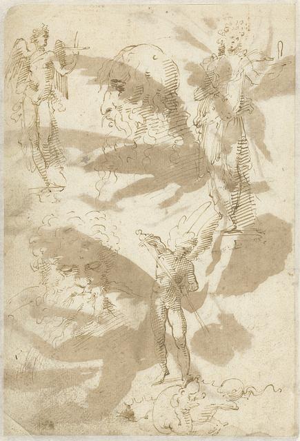 Studies van een engel, twee hoofden en de heilige Michaël
