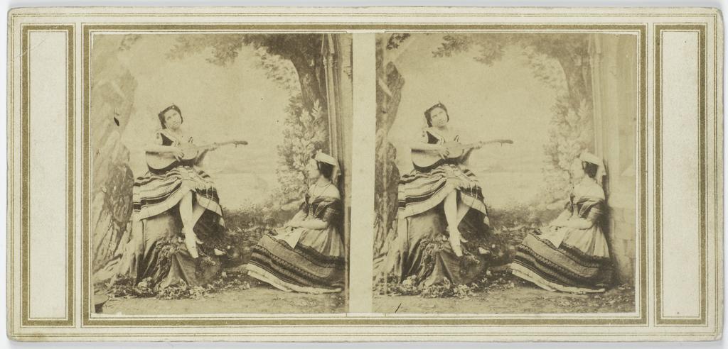 Tafereel : vrouw met gitaar, andere vrouw luistert toe