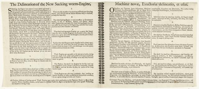 Tekstblad bij de prent van het gebruik van de slangbrandspuiten in Londen, ca. 1690-1700