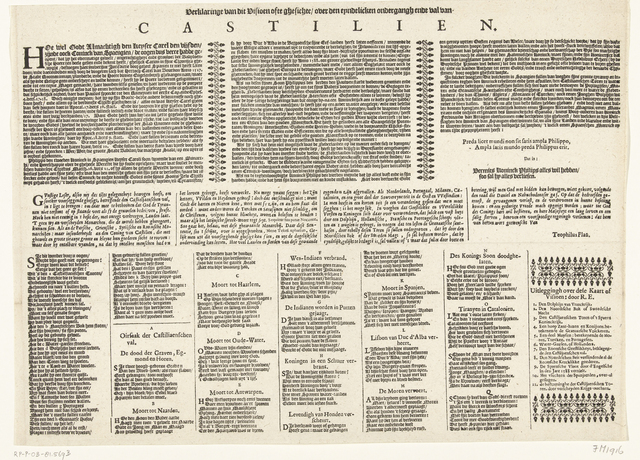 Tekstblad bij de prent van het visioen van de ondergang van Spanje, ca. 1630