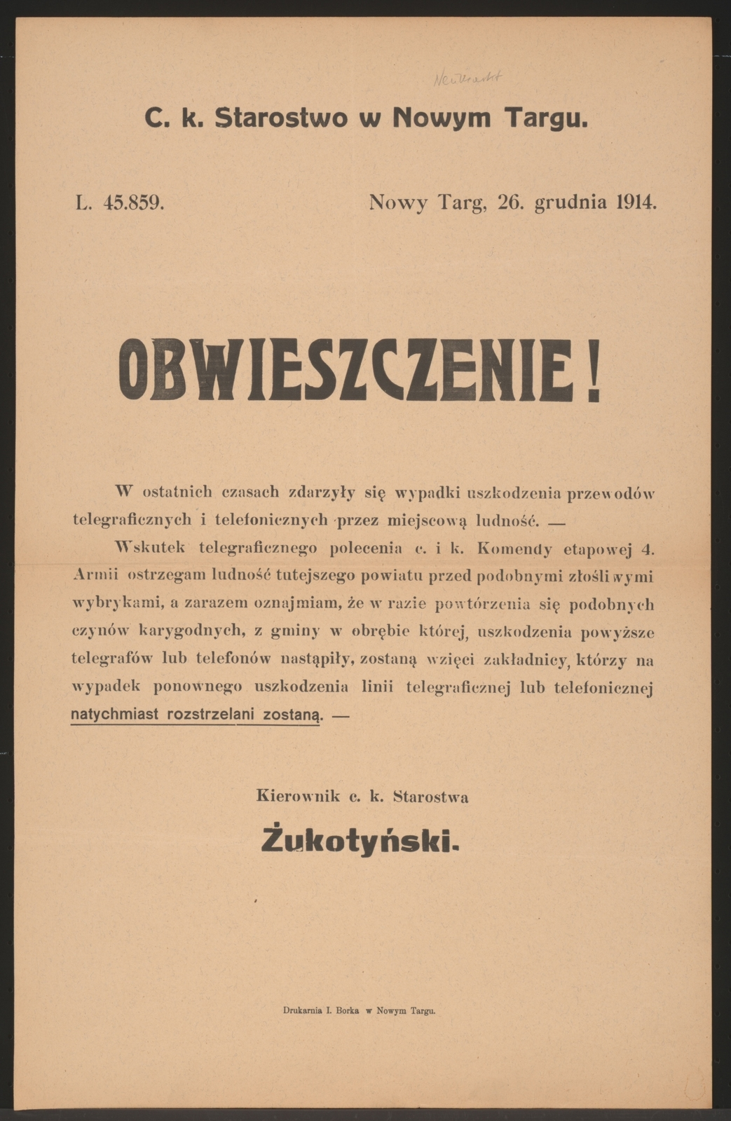 Telefonleitungen Kundmachung Neumarkt In Polnischer Sprache