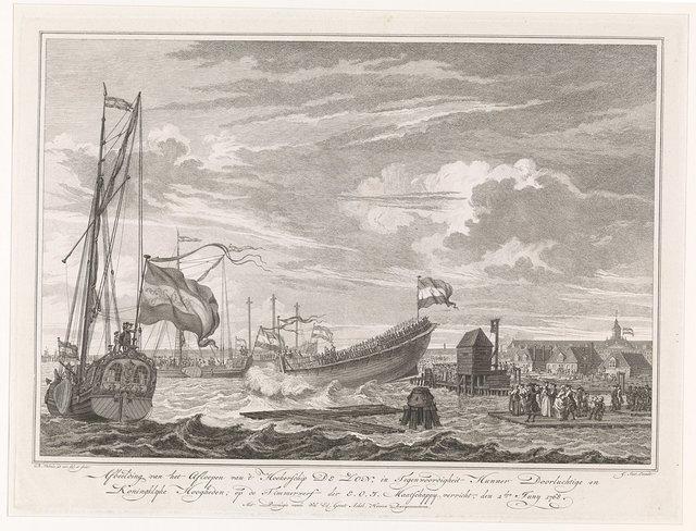 Tewaterlating van het schip De Zon, 1768