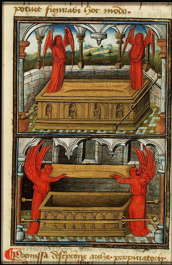 The Ark of the Covenant; the Ark of the Covenant opened by two cherubim