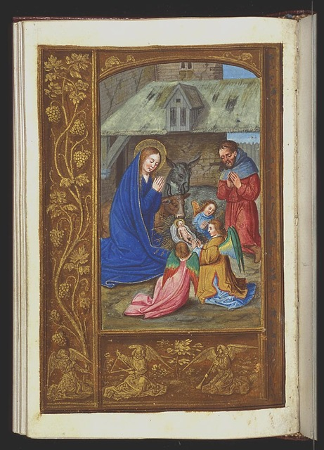 The Nativity: the adoration of the Christ-child by Mary, St. Joseph and two angels