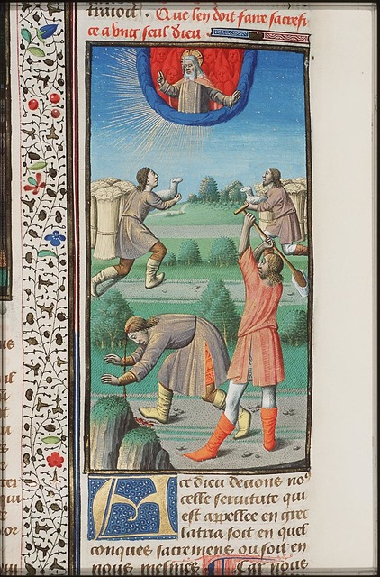 The sacrifices of Cain (who is holding a lamb instead of a sheaf of corn!) and Abel; Cain slays Abel with a spade