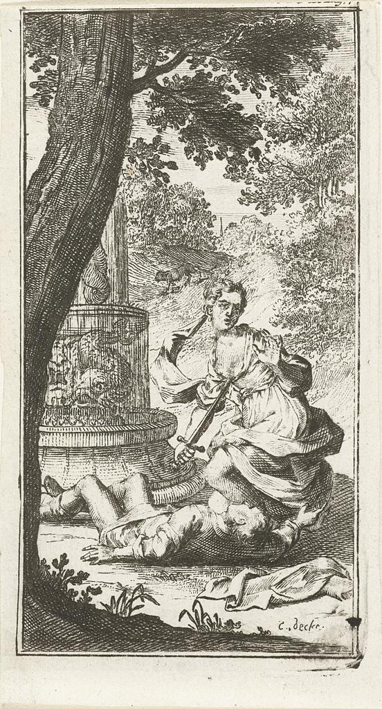 Thisbe doodt zichzelf met zwaard van Pyramus bij fontein