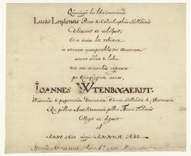 Titelblad van de Lucas van Leyden collectie