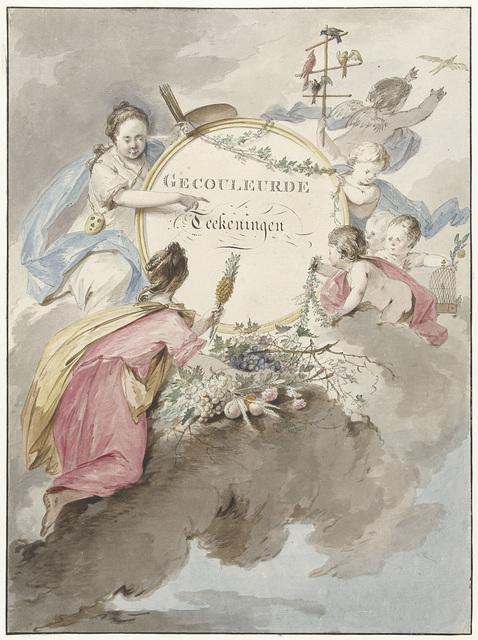 Titelblad voor kunstboek met Gecouleurde Teekeningen