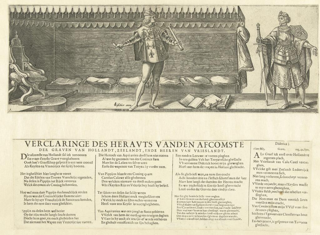 Titelblad voor prentserie De graven en gravinnen van Holland (met een heraut en graaf Dirk I)
