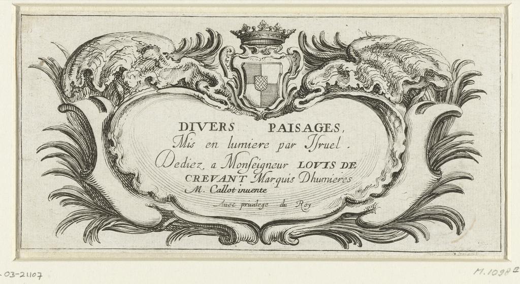Titelblad voor prentserie 'Divers paisages' / 'Verschillende landschappen'