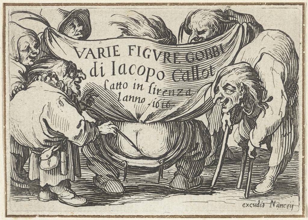 Titelblad voor prentserie 'Diverse dwergen'/'Varie figure gobbi di Jacopo Callot'