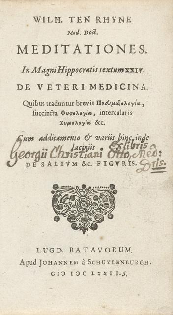Titelpagina van het boek 'Meditationes in magni Hippocratis'