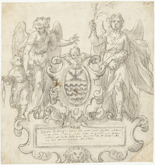 Titelpagina voor een verzamelalbum met een wapen geflankeerd door twee engelen