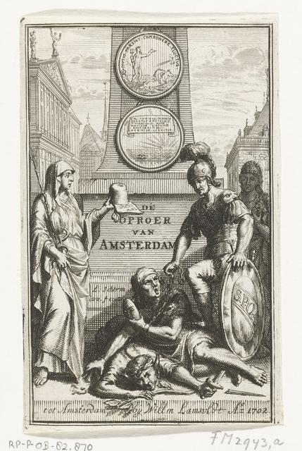 Titelpagina voor: P. Rabus, Historie van den oproer, te Amsterdam voorgevallen [...] zedert den 31sten january 1696, 1702