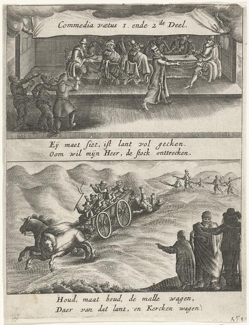 Titelprent van het pamflet Commedia vaetus (tweede deel), 1612