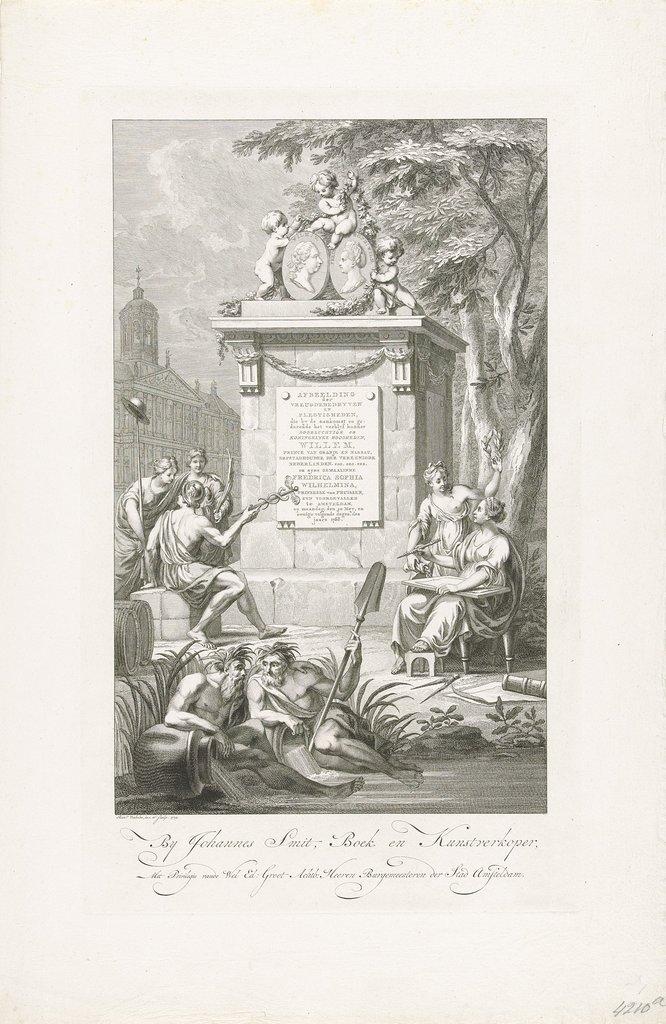 Titelprent voor de prentserie van de inhaling van Willem V en Wilhelmina van Pruisen te Amsterdam, 1768