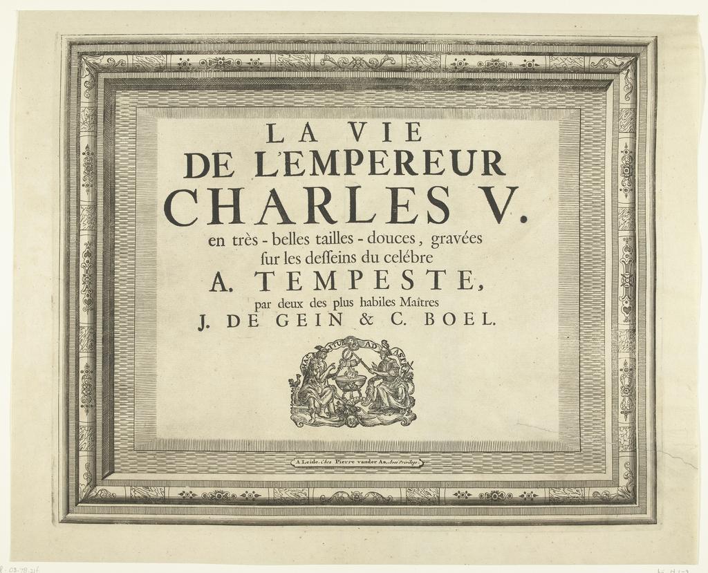 Titelprent voor prentserie Triomfen van Karel V