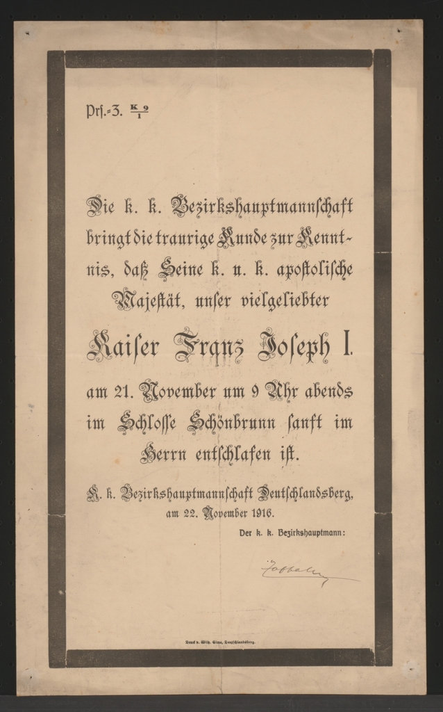 Tod Kaiser Franz Josephs - Deutschlandsberg