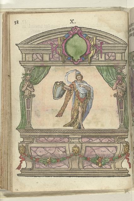 Toneel met personificatie van de Voorzichtigheid (Prudentia), 1578