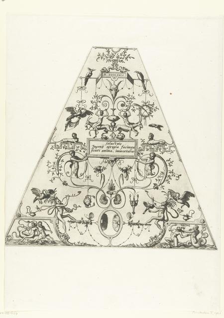Trapeziumvormige vlakdecoratie, met een citaat van Sallustius