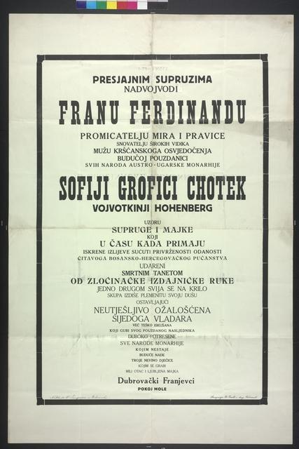 Trauerplakat Franz Ferdinand und Sophie - Dubrovnik - In kroatischer Sprache