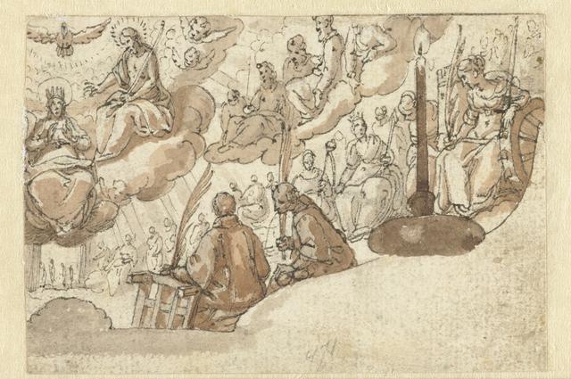 Tronende Maria in de hemel omringd door heiligen