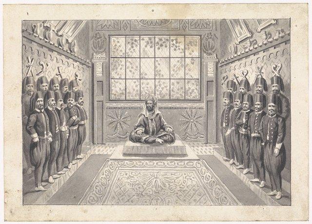 Turkse vorst met zijn wacht in een zaal